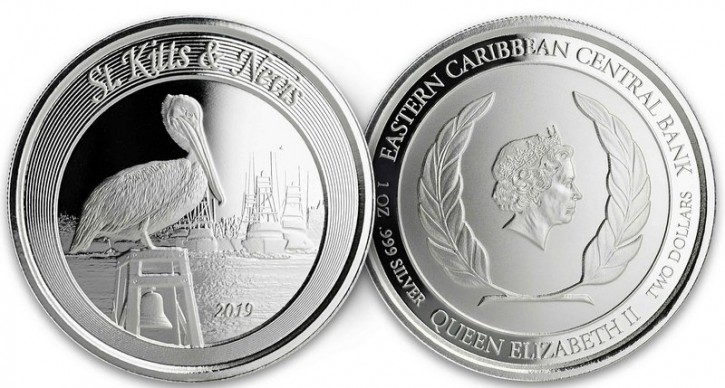"1 oz Silber St. Kitts and Nevis "" Pelican 2019 "" Scottsdale Mint / Prooflike in Kapsel ( diff.besteuert nach §25a UStG )"