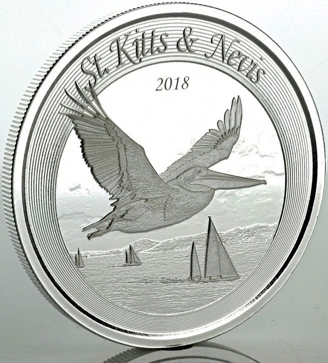 "1 oz Silber St. Kitts and Nevis "" Pelican "" Scottsdale Mint / Prooflike in Kapsel ( diff.besteuert nach §25a UStG )"