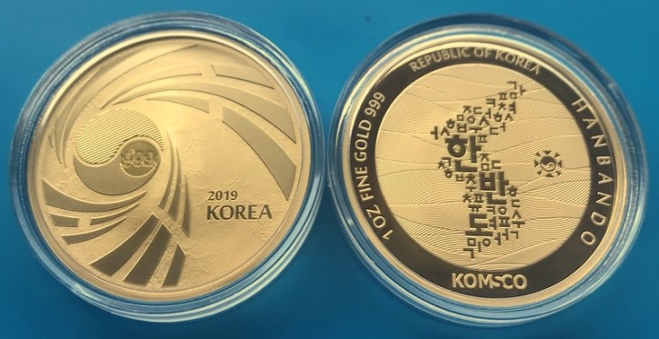 "1 oz Gold Südkorea "" Peninsula in Kapsel "" - geprägt bei Komsco"