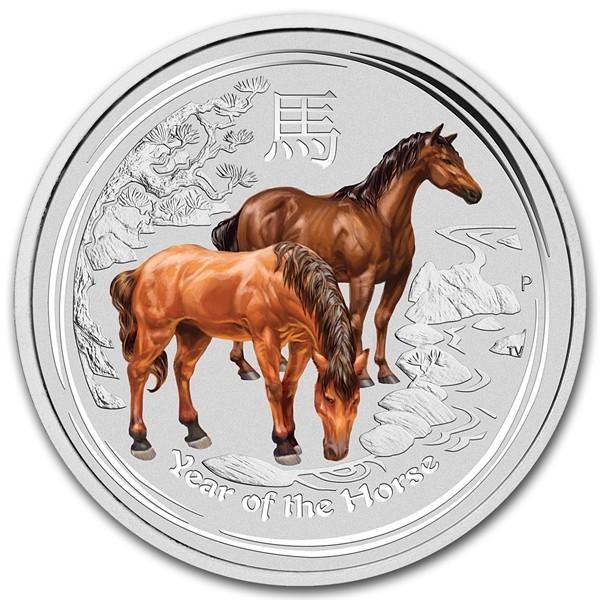 2 oz Silber Lunar II Silber Pferd colored  2014  ( diff.besteuert nach §25a UStG )