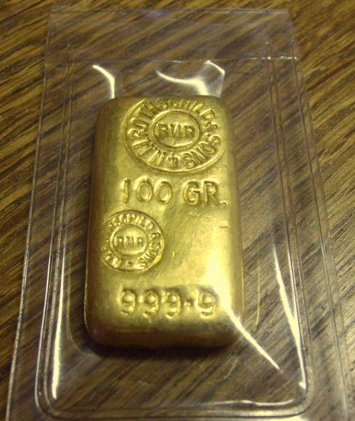 100 Gramm Gold Barren Rothschild gegossen