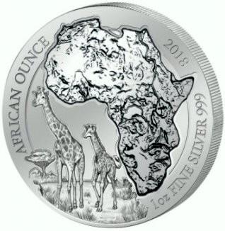 "1 oz Silber Ruanda "" Giraffe  "" 2018 ( diff.besteuert nach §25a UStG )"