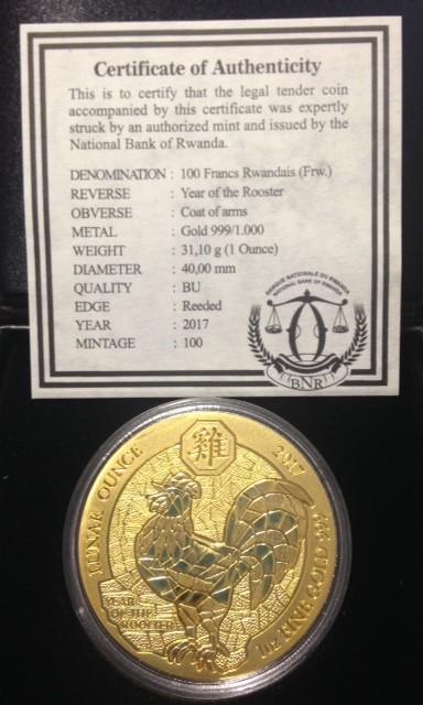 """1 oz Gold inkl. Box / COA Ruanda Lunar """" Hahn """" inkl. COA - max Auflage 100"""