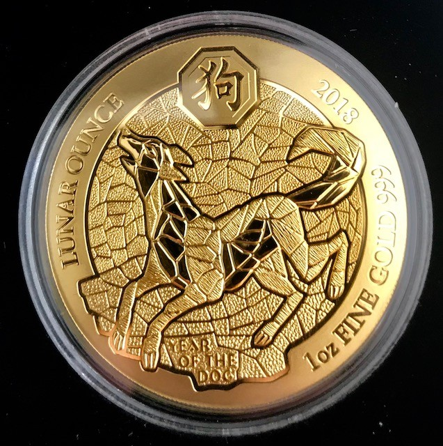 "1 oz Gold Ruanda Lunar "" Hund / Dog "" inkl. Box / COA - VVK"