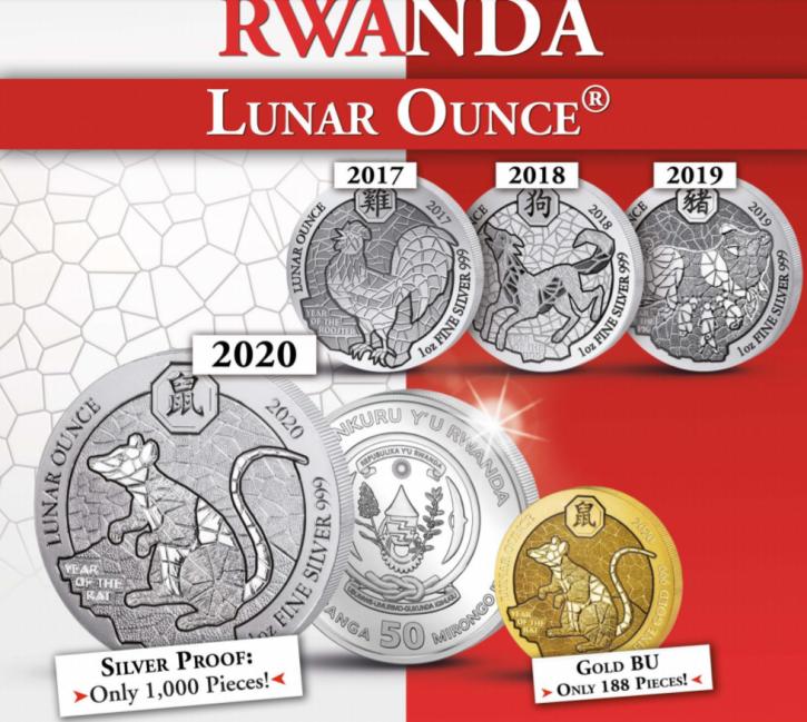 1 oz Gold Ruanda 2020 Lunar Maus / Ratte  inkl. Box / COA ( max 188 Stk )