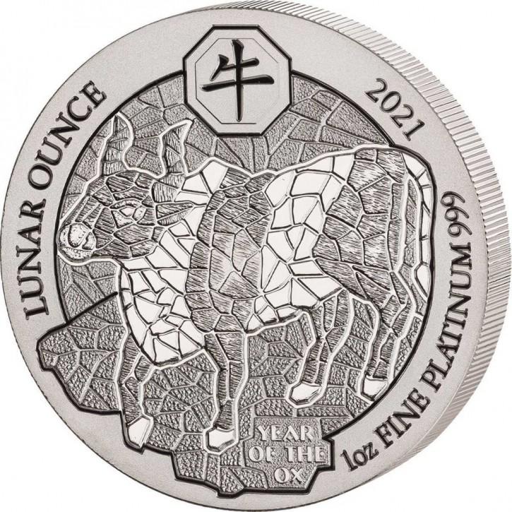 "1 oz Platin Ruanda Lunar "" Ochse / Ox 2021 "" inkl. Box / COA - max. 88 Stk"