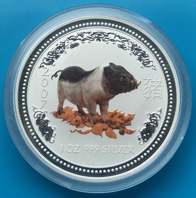 1 oz Silber Lunar Schwein 2007 colored / farbig  in Kapsel ( diff.besteuert nach §25a UStG )