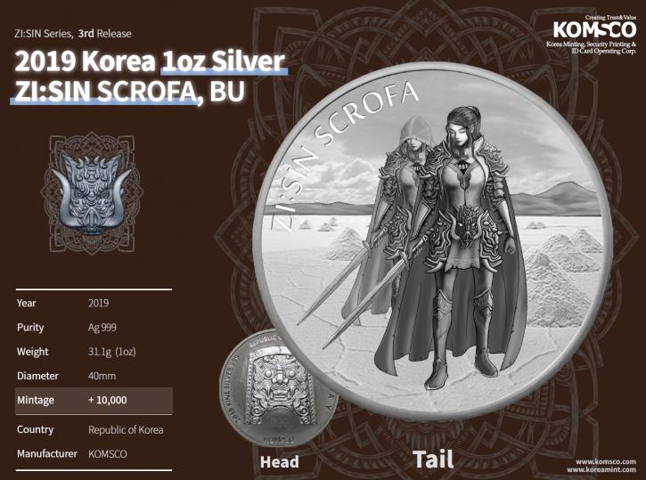 5 X 1 oz Silber Südkorea 2019 4 X Scrofa + 1 X Scrofa Ghost - max 40.000 und 10.000