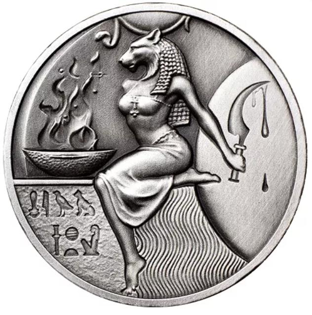 2 oz Silber Antique Finish Ultra High Relief Sekhmet Egyptian Gods Series ( inkl. gesetzl. Mwst )