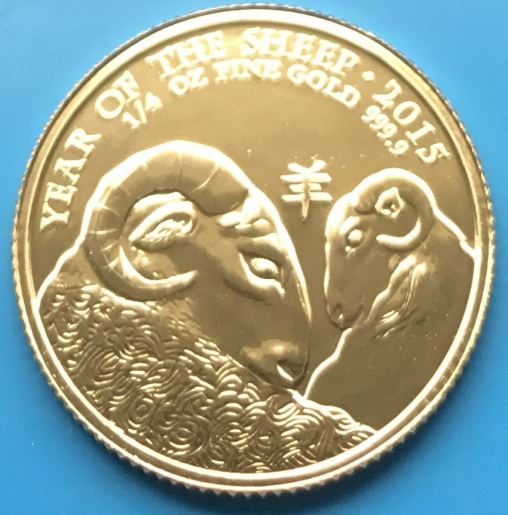 "1/4 oz Gold UK / Grossbritannien "" Lunar Sheep / Ram / Goat """
