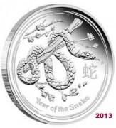 10 oz Silber Lunar II Schlange 2013 in Kapsel ( diff.besteuert nach §25a UStG )