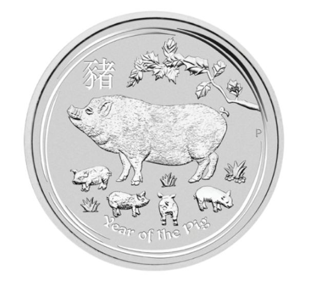 5 oz Silber Lunar II Schwein 2019 in Kapsel Perth Mint  ( diff.besteuert nach §25a UStG )