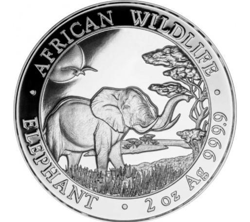 2 oz Silber Somalia Elefant 2019 in Kapsel  ( diff.besteuert nach §25a UStG )