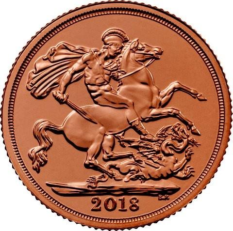 2018 Sovereign 1 Pfund GB ( 7,32 Gramm Gold fein )