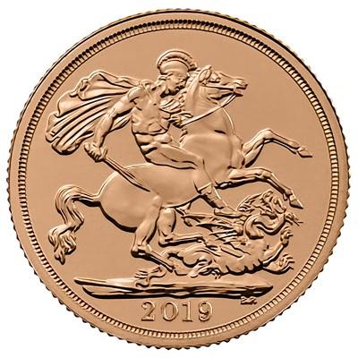 2019 Sovereign 1 Pfund GB ( 7,32 Gramm Gold fein )