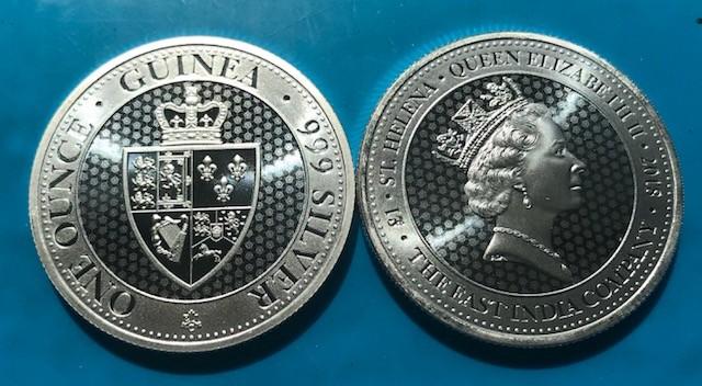 "1 oz Silber "" Spade Guinea "" St. Helena geprägt bei East India Company ( diff.besteuert nach §25a UStG ) - LZ Mitte/Ende 7"