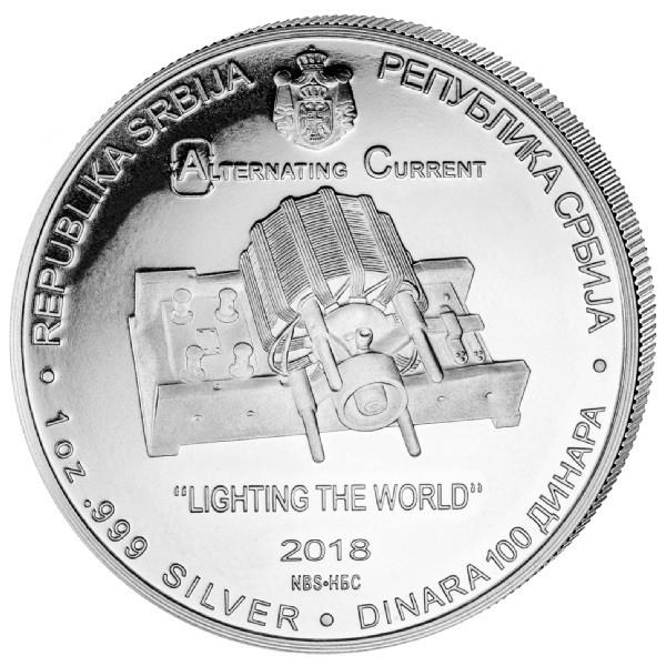 "1 oz Silber Serbien "" Tesla "" - erste Ausgabe ( diff.besteuert nach §25a UStG )"