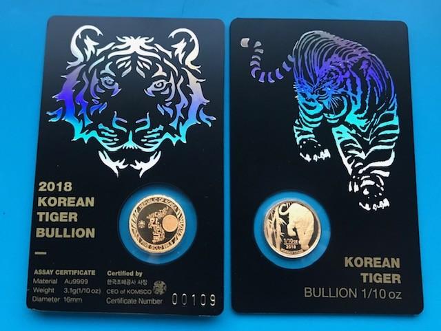 1/10 oz Gold Korean Tiger 2018 inkl. Card ( Komsco ) - max. 5.000