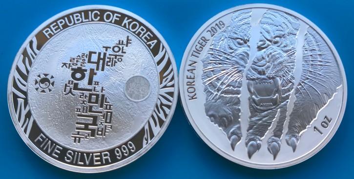 """1 oz Silber Korea """" Tiger """" 2019 2te Ausgabe - max Auflage 20.000"""