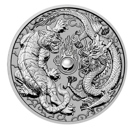 "1 oz Silber Perth Mint "" Tiger and Dragon "" in Kapsel - max. Auflage 50.000  ( diff.besteuert nach §25a UStG )"