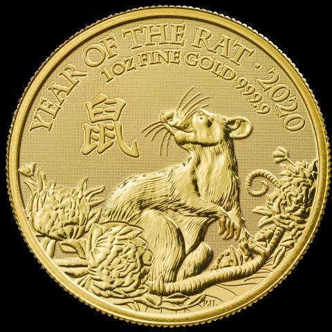 "1 oz Gold UK / Grossbritannien "" Lunar Mouse / Maus 2020 "" in Kapsel - Auflage 8.888"