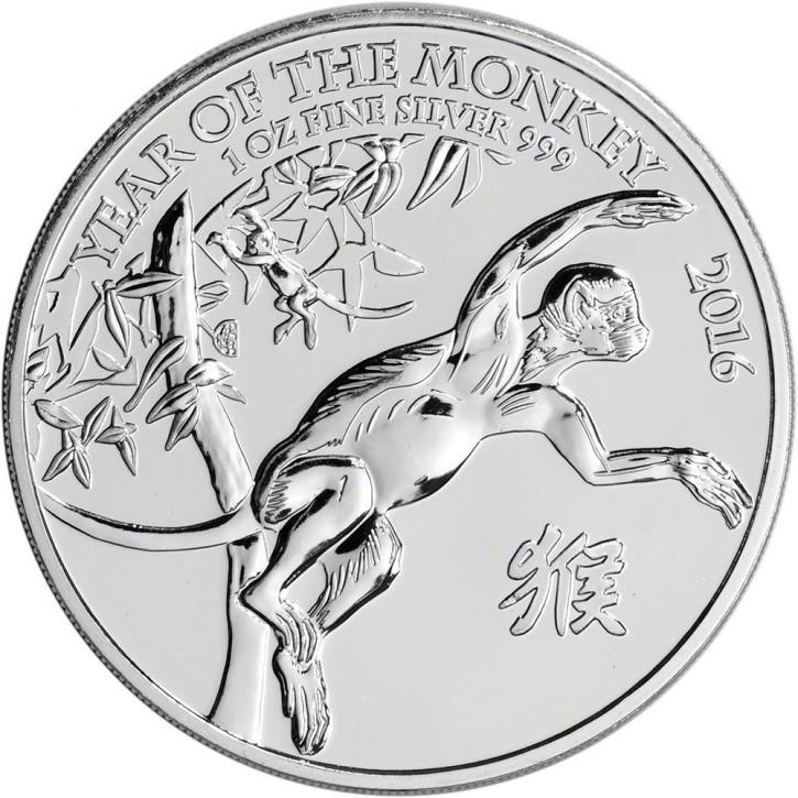 """1 oz Silber UK """" Lunar Affe / monkey """" ( diff.besteuert nach §25a UStG )"""