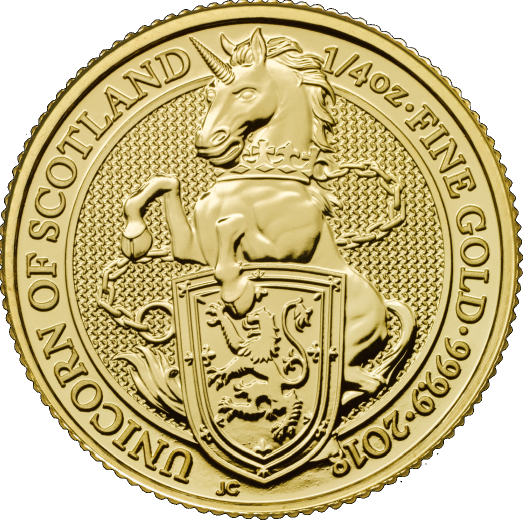 "1/4 oz Gold Royal Mint / United Kingdom "" Unicorn of Scotland """