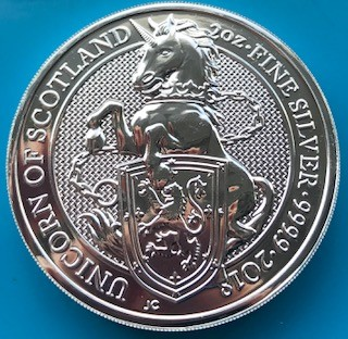 "2 oz Silber Royal Mint / United Kingdom "" Unicorn of Scotland "" ( diff.besteuert nach §25a UStG )"