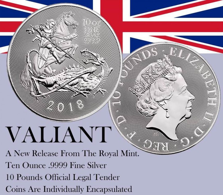 "10 oz Silber Royal Mint  "" Valiant / Tapferkeit "" in Kapsel ( diff.besteuert nach §25a UStG ) - United Kingdom"