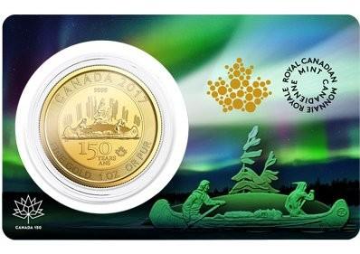 """1 oz Gold """" 150 Jahre Canada """" - Kanu / Voyageur in Blister - max. Auflage 15.000"""