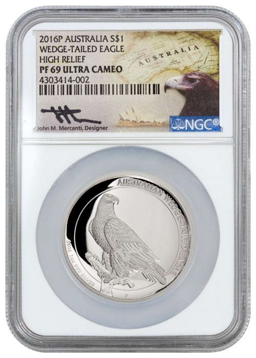 1 oz Silber Australien Wedge Tailed Eagle 2016 Proof High Relief in Slab John Mercanti ( diff.besteuert nach §25a UStG )