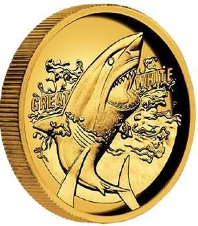 1 oz Gold Ultra High Relief Perth Mint Great White Shark inkl. Box / COA - max 500 stk