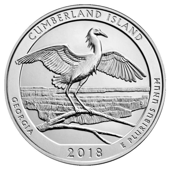 "5 oz Silber USA "" America the beautiful "" Georgia "" Cumberland Islands ( diff.besteuert nach §25a UStG ) - VVK"