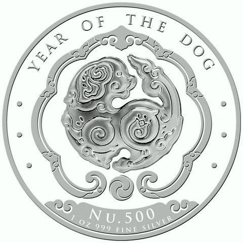 """1 oz Silber Königreich Bhutan Lunar Dog / Hund  """" Singapore Mint """" ( diff.besteuert nach §25a UStG )"""