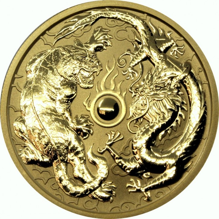 1 oz Gold Tiger & Dragon 2019 in Kapsel ( Perth Mint )