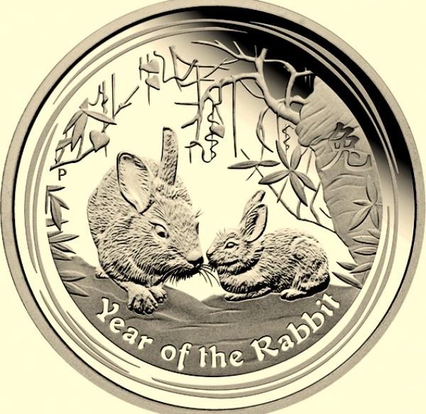 2 oz Silber Lunar II Silber Hase 2011  ( diff.besteuert nach §25a UStG )