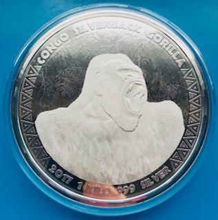 """1 Kilogramm / 1000 Gramm Silber Congo Gorilla 2017 """" Scottsdale Mint """" in Kapsel - max Auflage 5.000 ( diff.besteuert nach §25a UStG )"""