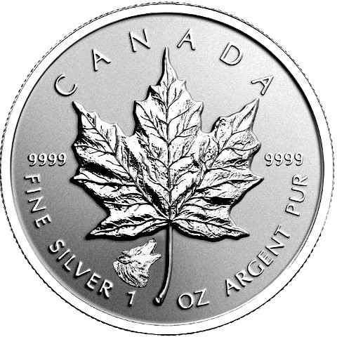 "1 oz Silber Maple Leaf Reverse Proof "" Privy Mark Wolf  "" / Auflage max. 50.000 ( diff.besteuert nach §25a UStG )"