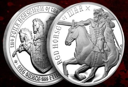 1 oz Silber Four Horsemen of the Apocalypse - Red Horse of War ( zweite Ausgabe ) ( 19% Mwst )