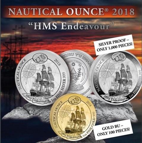 "1 oz Silber Ruanda  "" Endeavour "" 2018 - ( diff.besteuert nach §25a UStG )"