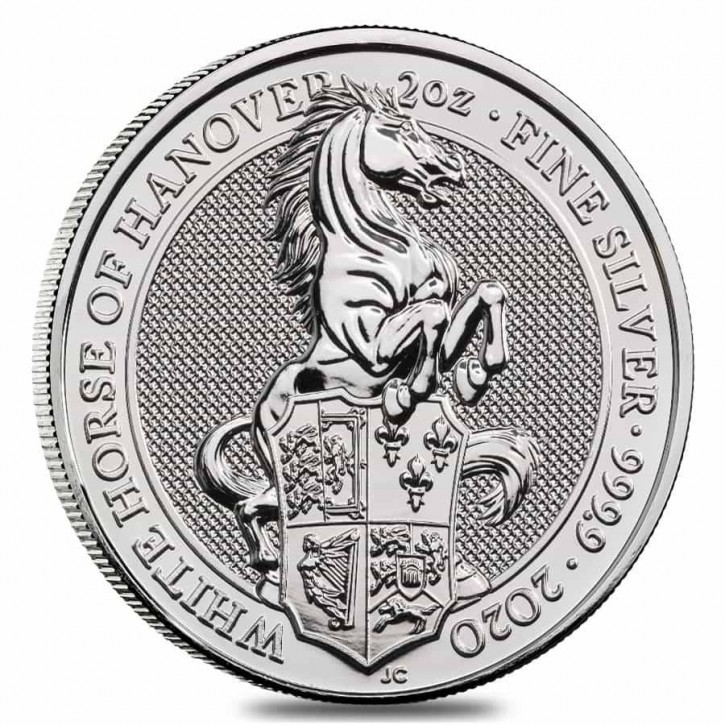 """2 oz Silber Royal Mint / United Kingdom """" White Horse of Hannover """" ( diff.besteuert nach §25a UStG )"""