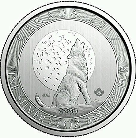 "3/4 oz Silber Canada "" Howling Wolf & Moon "" 2017   ( diff.besteuert nach §25a UStG )"