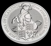 "10 oz Silber Royal Mint / Queen's Beast "" Black Bull "" in Kapsel ( diff.besteuert nach §25a UStG )"
