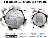 "10 oz Silber Korea "" Canis "" in Kapsel  2018  - max Auflage 300"