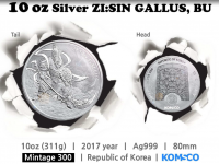 "10 oz Silber Korea "" Gallus "" in Kapsel  2017  - max Auflage 300"