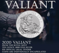 "10 oz Silber Royal Mint  "" Valiant / Tapferkeit 2020 3te Ausgabe "" in Kapsel ( diff.besteuert nach §25a UStG ) - United Kingdom"