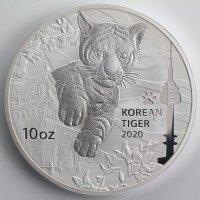 10 oz Silber Korea  Tiger in Kapsel 2020 - max Auflage 300