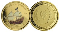 1 oz Gold Proof-colored Antigua & Barbuda Rum Runner 2020 Scottsdale Mint / in Box ( Auflage 100 )