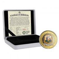 """1 oz Gold Proof-colored St. Vincent & The Grenadines """" Pax & Justitia """" 2020 Scottsdale Mint / in Box ( Auflage 100 )"""