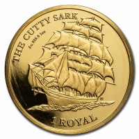 """1 oz Gold British Indian Ocean Territory """" Cutty Sark """" Cameo - max. Mintage 100"""